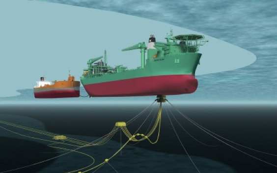 Illustration showing the Haewene Brim (including subsea infrastructure) while offloading to a shuttle tanker